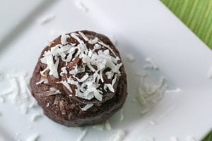raw chocolate coconut cupcake