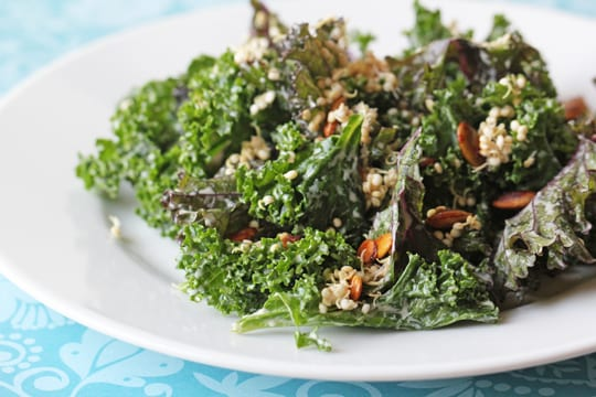 Raw Kale Salad with Sprouted Quinoa and Pumpkin Seeds Recipe