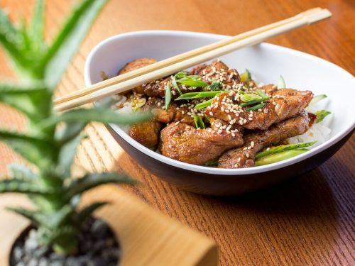 Teriyaki Pork Stir Fry Recipe, crispy pork with homemade teriyaki sauce and green onions