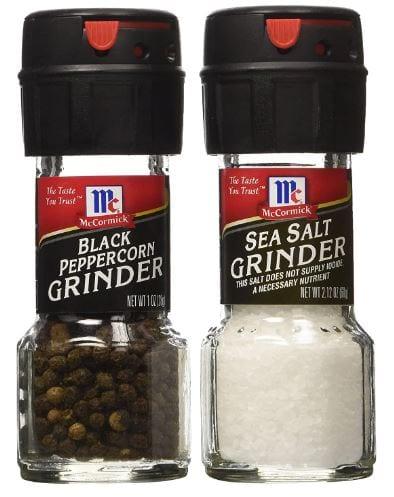 McCormick's Sea Salt Grinder 2.12 Oz. and McCormick's Black Peppercorn Grinder 1.0 Oz.