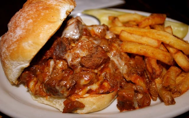 sloppy barbecued burger