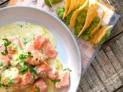 Salmon Ceviche with Sweet Corn Vinaigrette Recipe, how to make salmon ceviche, salmon and sweet corn, ceviche