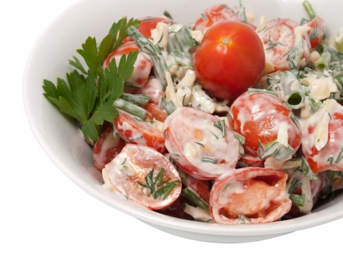 Cherry Tomato Salad Recipe, red cherry tomatoes with mayonnaise and parsley