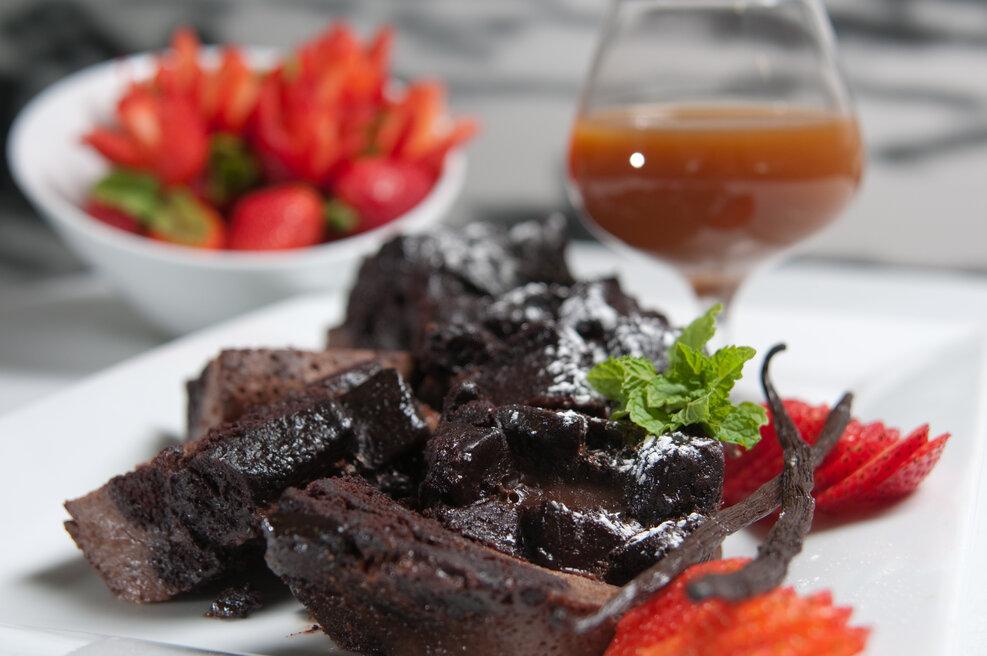 Double Chocolate Bread Pudding Recipe, double chocolate bread pudding with french bread cubes and chocolate chunks