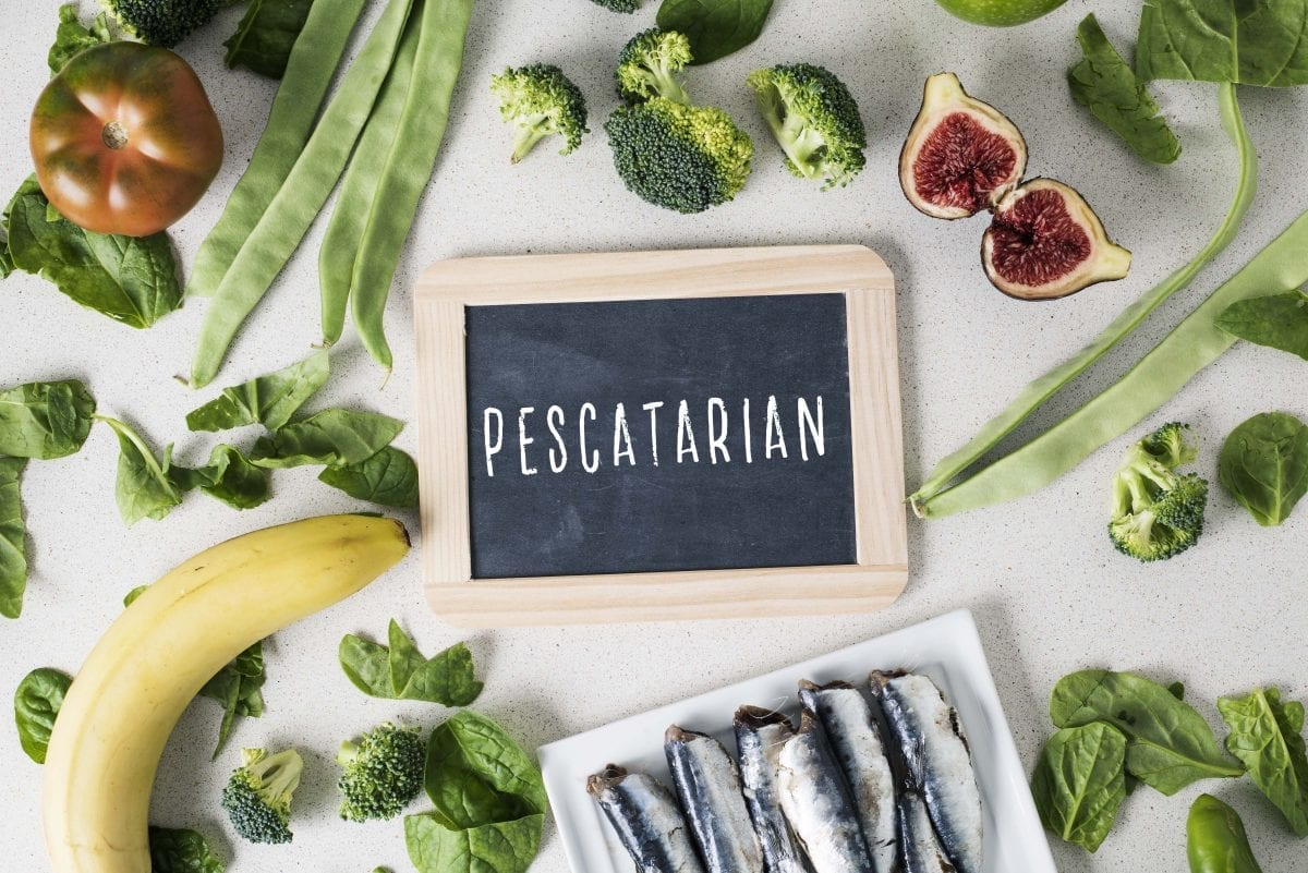 Pescetarianism, a signboard with the text pescatarian