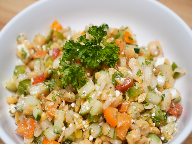 chopped chickpea salad, healthy food