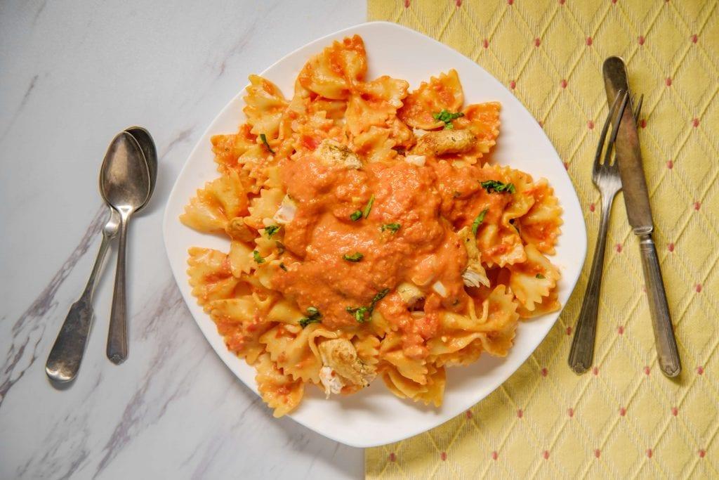 Five Cheese Marinara Sauce Recipe (Olive Garden Copycat) - served over bow tie pasta