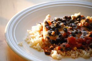 Chicken and Rice with Black Bean Salsa Recipe