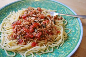 Chicken, Spinach, and Tomatoes Served with Spaghetti Recipe