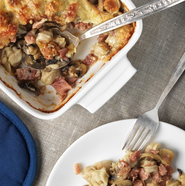creamy and cheesy sausage casserole