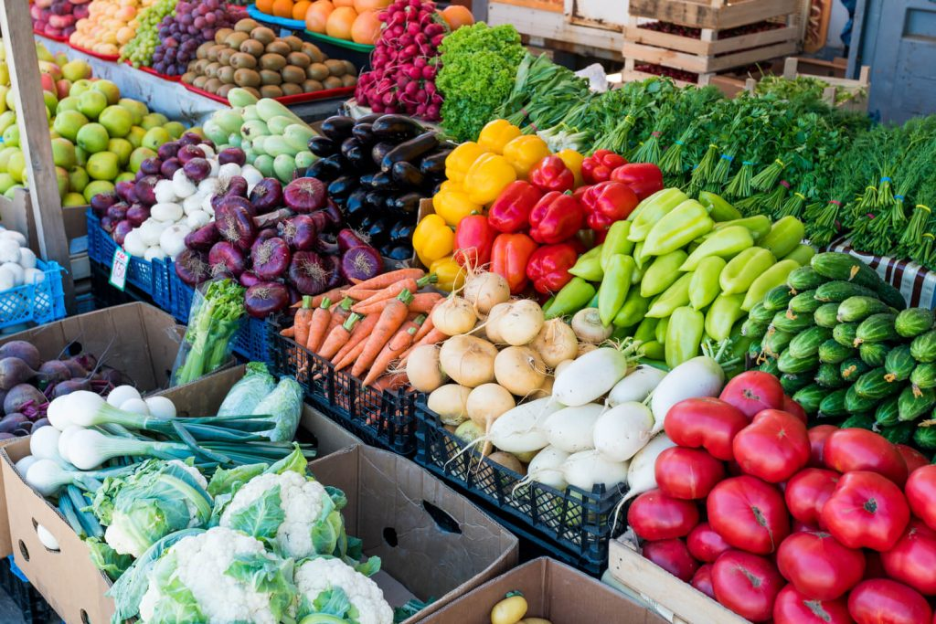 diverse fresh food at farmers market