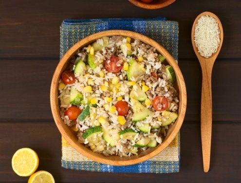 fresh cucumber and rice salad