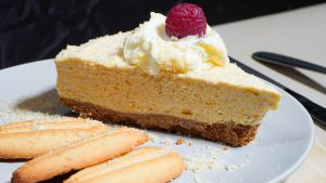 Easy Peach Rhubarb Cake - Crumb