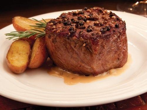 Steak Au Poivre Recipe- Tender filet mignon with peppercorn crust and cognac cream sauce.