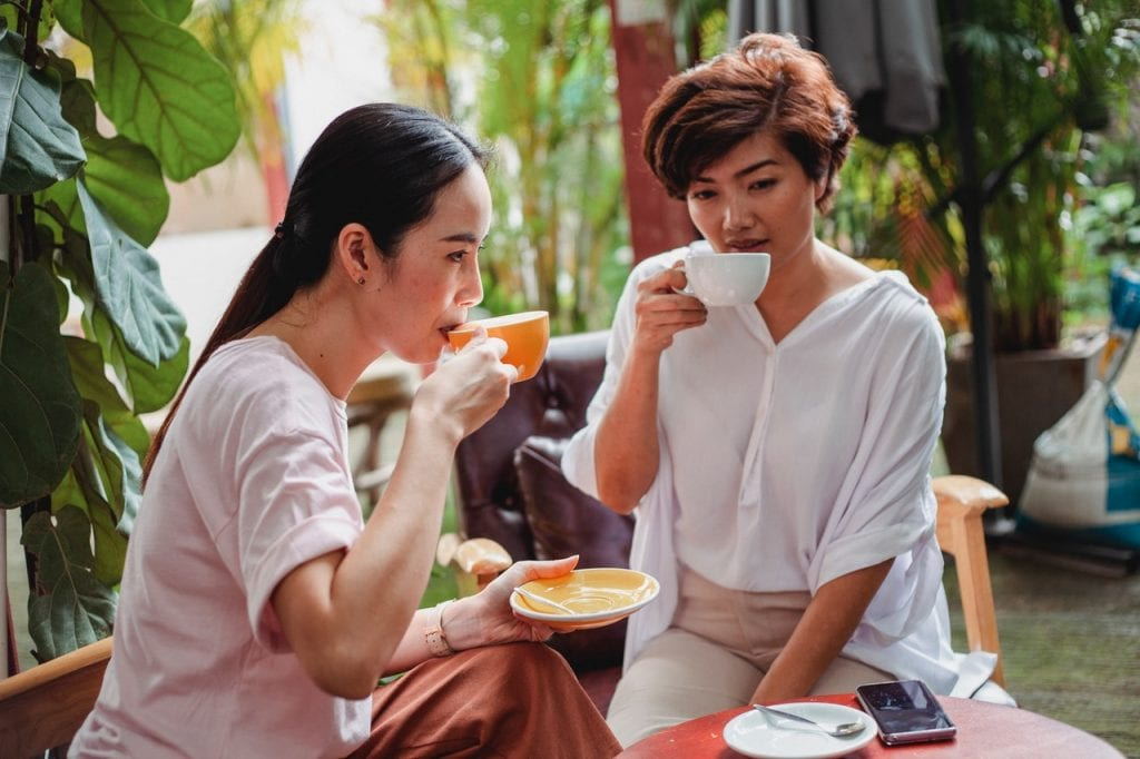 Black Currant Tea: women drinking black currant tea, girls drinking tea, tea time