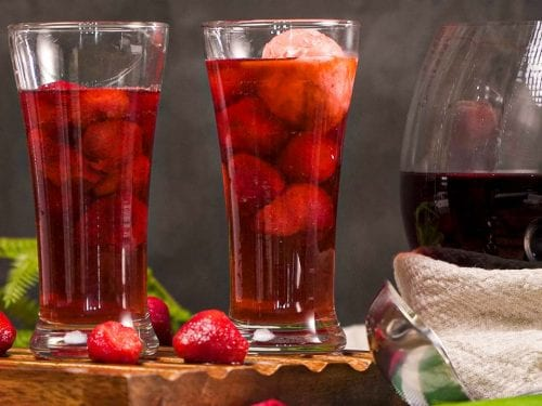 Heart-shaped fruit punch-flavored ice cubes in soda glasses