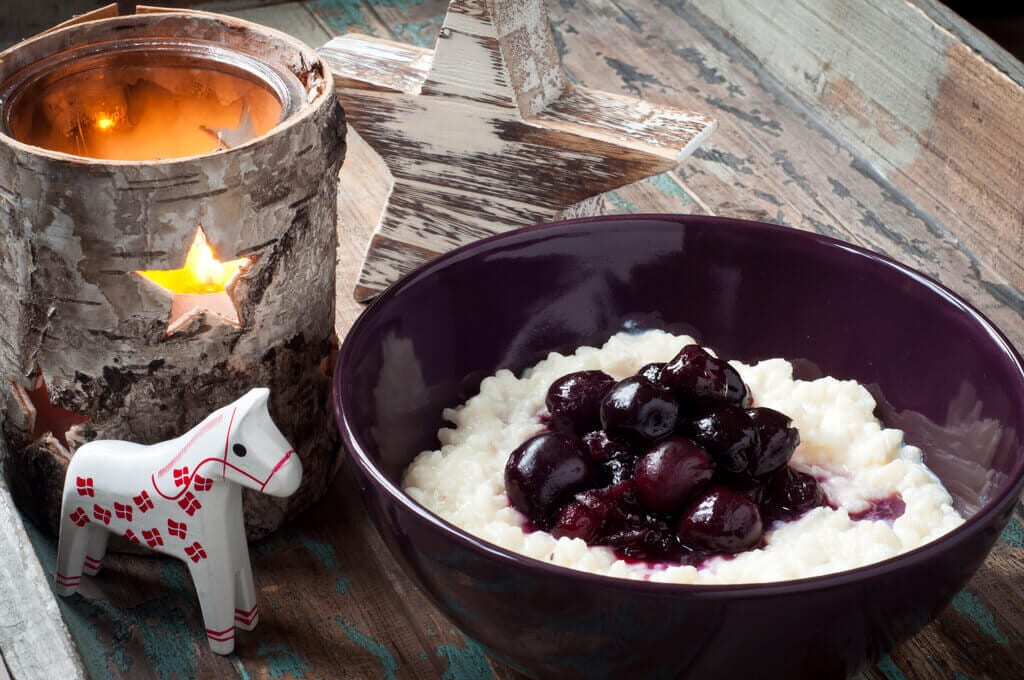 Risalamande Danish Rice Pudding, traditional Christmas rice pudding with almonds topped with cherry sauce