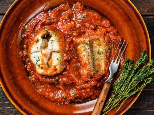 Baked Fish with a Tomato Mushroom Sauce Recipe, easy baked fish fillet recipe, healthy low carb dinner