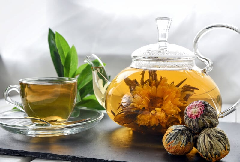 Chinese flower tea stepped in hot water