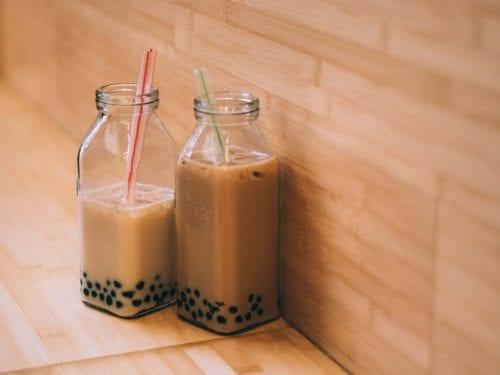 Jasmine Bubble Milk Tea, jasmine green milk with boba recipe