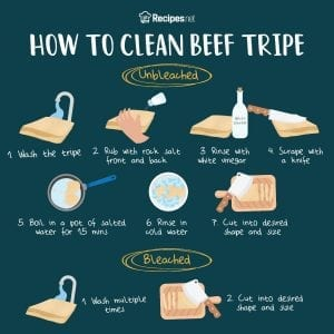 how to clean beef tripe infographic
