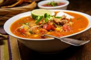 Bowl of sweet potato tortilla soup