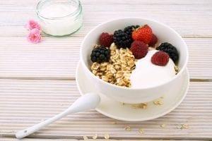 greek yogurt, yogurt served in a bowl, yogurt with oats and berries, yogurt parfait