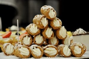 pieces of ricotta cannoli on a pyramid-style display