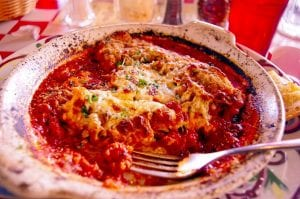 close-up view of chicken Parmesan