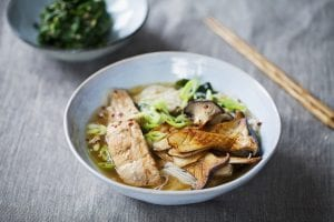 Miso ramen with king oyster mushrooms, salmon and rice noodles