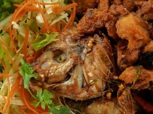 fried fish with sweet chili and garlic