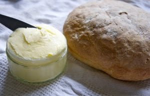 homemade butter and bread