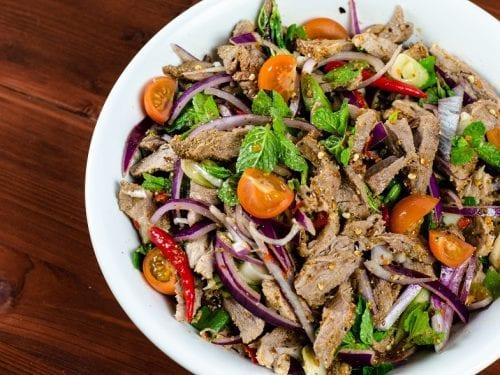 moo nam tok (grilled pork salad) recipe