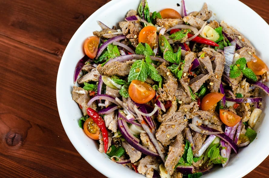 Moo Nam Tok (Grilled Pork Salad) Recipe