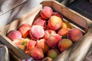 fresh peaches inside a wooden basket