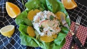 orange waldorf salad served with butter lettuce