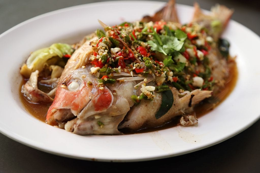 Steamed Sea Bass with Chili, Lime, and Garlic Recipe