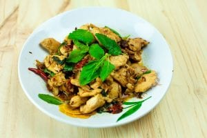 plate of Thai basil chicken