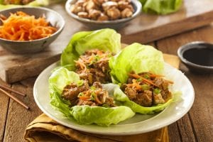 plate of Thai chicken lettuce wraps