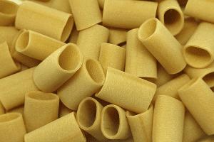 Dried paccheri pasta noodles