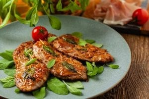 Saltimbocca, prosciutto-wrapped cutlets with sage leaves