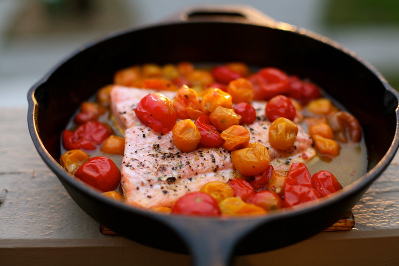 Pan seared salmon fillet with tomato recipe