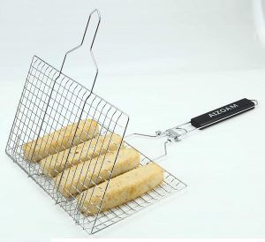 Stainless steel grilling basket with food