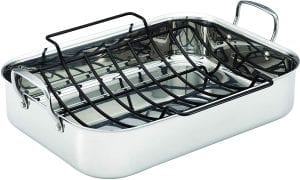 Stainless steel large roasting pan with rack