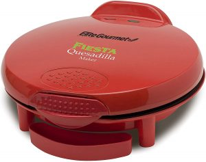 Red quesadilla maker with drip tray from Elite Gourmet