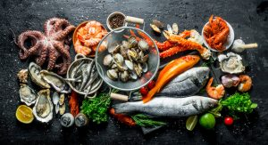 variety of fresh fish and seafood