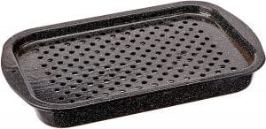 Shallow carbon steel roasting pan with holes