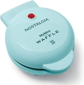 Light blue mini waffle maker from Nostalgia