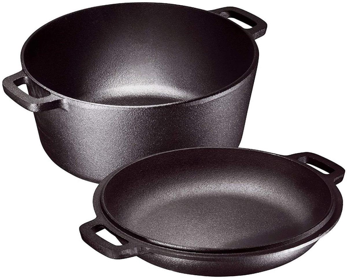 2-in 1 cast iron stock pot