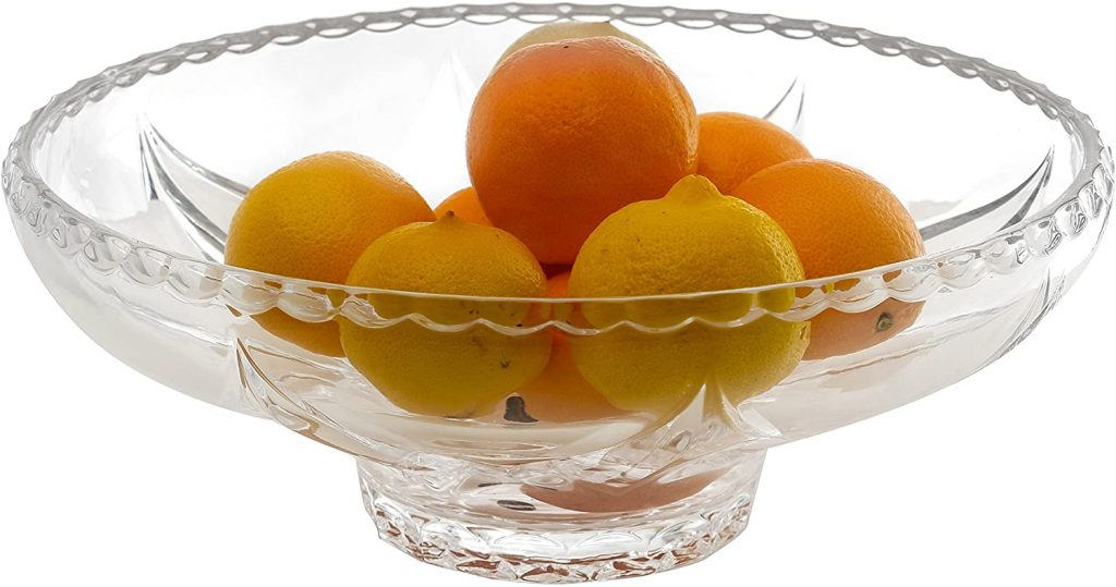 Clear glass container with fruits
